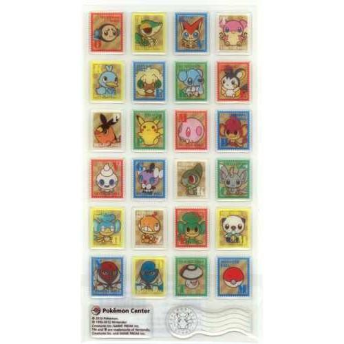 Pokemon Center 2012 Pokemon Doll Stamp Campaign Snivy Victini Whimsicott Scraggy & Friends 3D Sticker Sheet