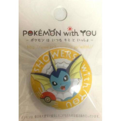Pokemon Center 2012 Pokemon With You Series #2 Vaporeon Metal Button