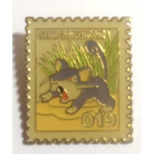 Pokemon 1998 Part 1 Masara Rattata Metal Stamp Pin Badge