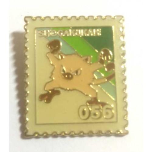 Pokemon 1998 Part 3 Hanada Mankey Metal Stamp Pin Badge