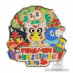 Pokemon Center 2016 Christmas Campaign Pikachu Delibird Litten Popplio Rowlet Pin Badge