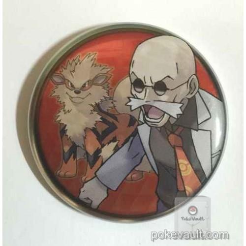 Pokemon Center 2016 Kanto Button Collection Blaine Arcanine Large Size Metal Button