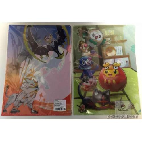 Pokemon Center 2017 New Years Campaign Solagaleo Lunala Popplio Litten Rowlet & Friends Set of 2 A4 Size Clear File Folders
