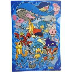 Pokemon Center 2012 Water Type #2 Wailord Keldeo Milotic Kyogre & Friends A4 Size Clear File Folder