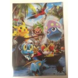 Pokemon Center Tokyo Bay 2013 Grand Opening Inkay Chespin Fennekin Clauncher Dedenne & Friends A4 Size Clear File Folder