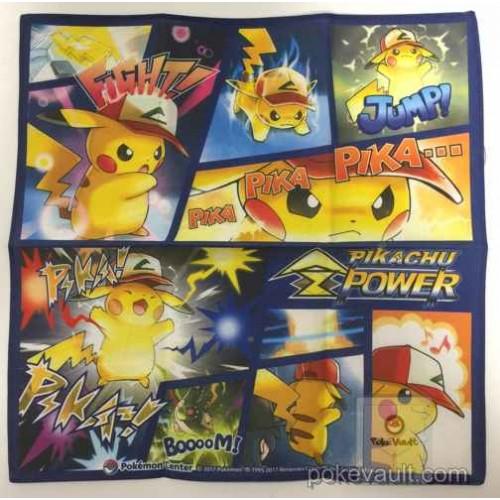 Pokemon Center 2017 Ash Hat Pikachu Z Power Movie Version Cloth Handkerchief