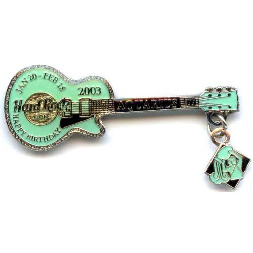 Hard Rock Cafe Japan 2003 Aquarius Mini Birthday Guitar Pin