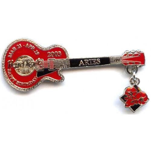 Hard Rock Cafe Japan 2003 Aries Mini Birthday Guitar Pin
