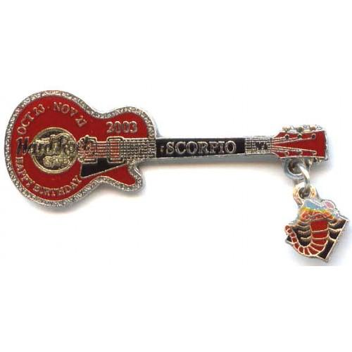 Hard Rock Cafe Japan 2003 Scorpio Mini Birthday Guitar Pin