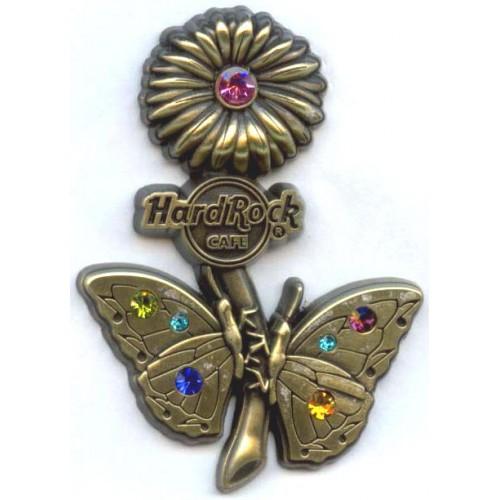 Hard Rock Cafe Japan 2007 Spring Fashion 3D Gem Butterfly Pin