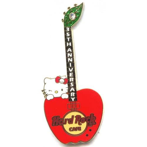 Hard Rock Cafe Japan 2009 Hello Kitty Red Apple Guitar Pin