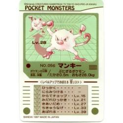 Pokemon 1997 Bandai Mankey Promo Sticker Card