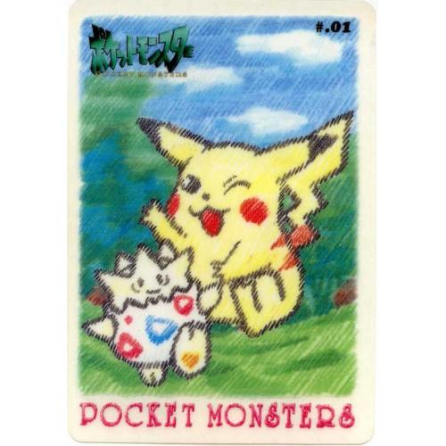 Pokemon 1998 Bandai Pikachu Togepi Promo Sticker Card