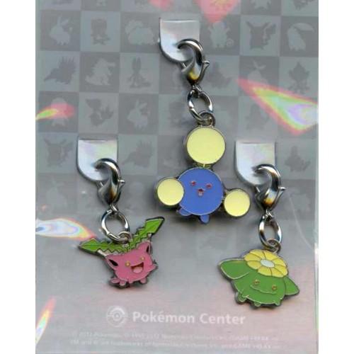 Pokemon Center 2012 Hoppip Jumpluff Skiploom Set of 3 Charms