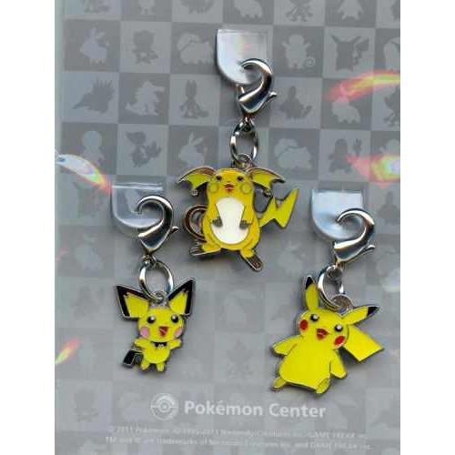 Pokemon Center 2011 Pikachu Pichu Raichu Set of 3 Charms