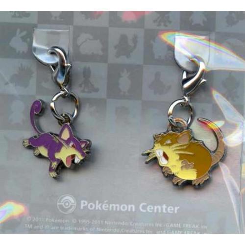 Pokemon Center 2011 Rattata Raticate Set of 2 Charms