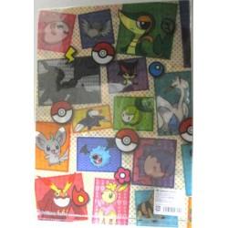 Pokemon Center 2010 Zekrom Reshiram Shimama Mijumaru Pokabu Tsutarja Emonga Yanappu Meguroko & Friends A4 Size Clear File Folder