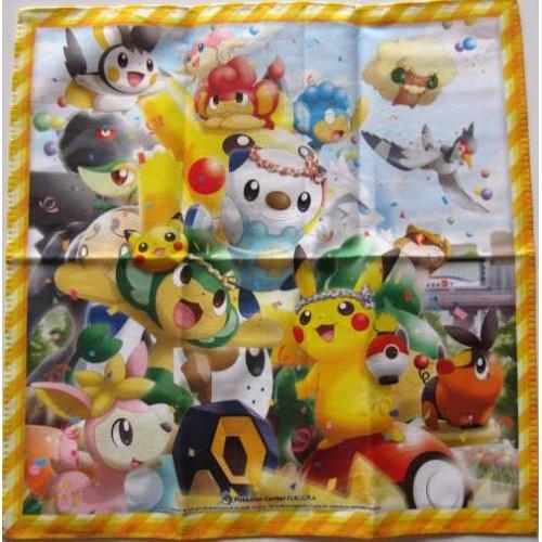 Pokemon Center Fukuoka 2011 Grand Re-Opening Pikachu Oshawott Pansage & Friends Cloth Handkerchief