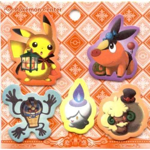 Pokemon Center 2011 Halloween Pikachu Tepig Cofagrigus Litwick Whimsicott Post It Memo Tags