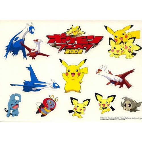 Pokemon Festa 2002 Latias Latios Pikachu Pichu Wynaut Volbeat Duskull Large Sticker Sheet